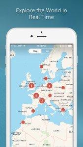 Periscope app iPhone screenshot Euro Map Norway Poland Ireland Spain Morocco Greece